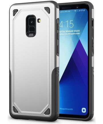 Samsung Galaxy A8 (2018) Hybride Rugged Armor Hoesje Zilver Hoesjes