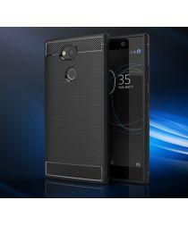 Sony Xperia L2 Geborsteld TPU Hoesje Zwart