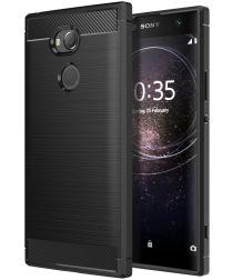 Sony Xperia XA2 Geborsteld TPU Hoesje Zwart