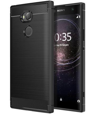Sony Xperia XA2 Geborsteld TPU Hoesje Zwart Hoesjes