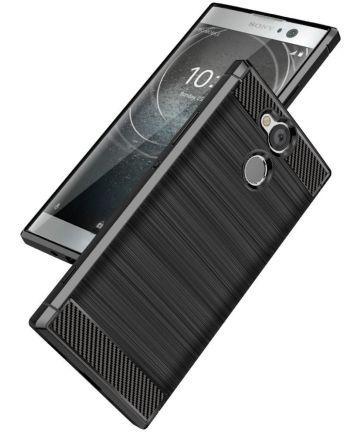 Sony Xperia XA2 Ultra Geborsteld TPU Hoesje Zwart