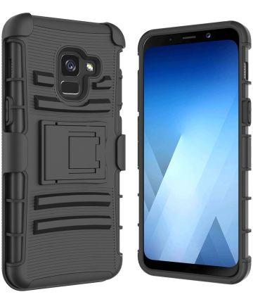 Samsung Galaxy A8 (2018) Hybride Hoesje met Riemclip Zwart Hoesjes