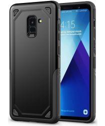 Samsung Galaxy A8 (2018) Hybride Rugged Armor Hoesje Zwart