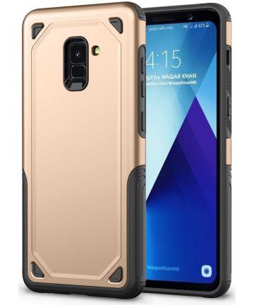 Samsung Galaxy A8 (2018) Hybride Rugged Armor Hoesje Goud Hoesjes