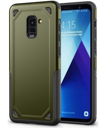 Samsung Galaxy A8 (2018) Hybride Rugged Armor Hoesje Groen Hoesjes