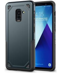 Samsung Galaxy A8 (2018) Hybride Rugged Armor Hoesje Donker Blauw