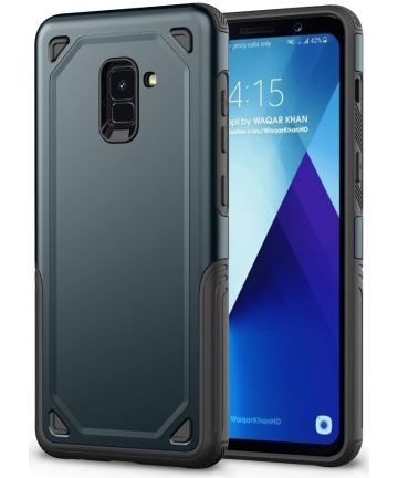 Samsung Galaxy A8 (2018) Hybride Rugged Armor Hoesje Donker Blauw