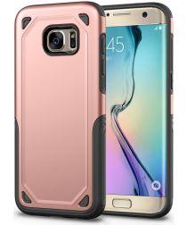 Samsung Galaxy S7 Hybride Rugged Armor Hoesje Roze Goud