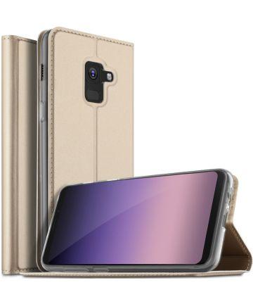 Samsung Galaxy A8 (2018) Flip Hoesje met Kaart Houder Goud
