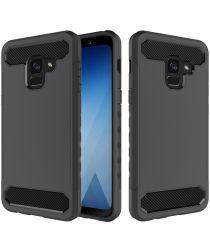 Samsung Galaxy A8 (2018) Geborsteld Hybride Hoesje Zwart