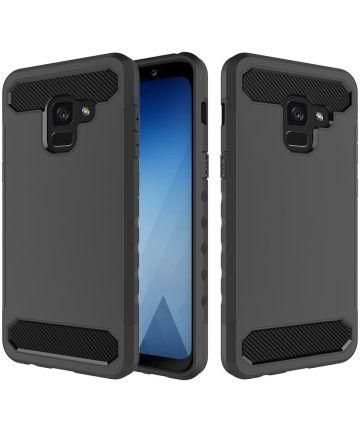 Samsung Galaxy A8 (2018) Geborsteld Hybride Hoesje Zwart Hoesjes