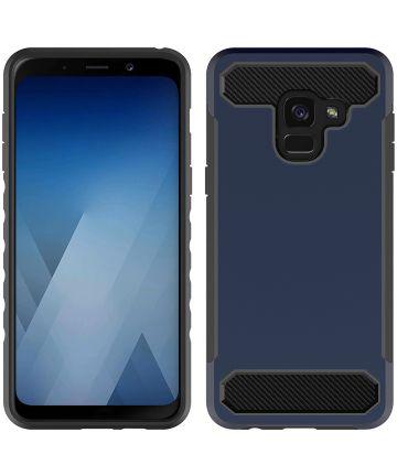 Samsung Galaxy A8 (2018) Geborsteld Hybride Hoesje Blauw Hoesjes
