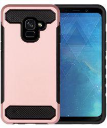 Samsung Galaxy A8 (2018) Geborsteld Hybride Hoesje Roze Goud