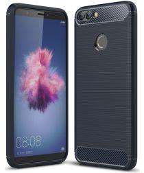 Huawei P Smart Geborsteld TPU Hoesje Blauw