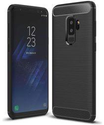 Samsung Galaxy S9 Plus Geborsteld TPU Hoesje Zwart