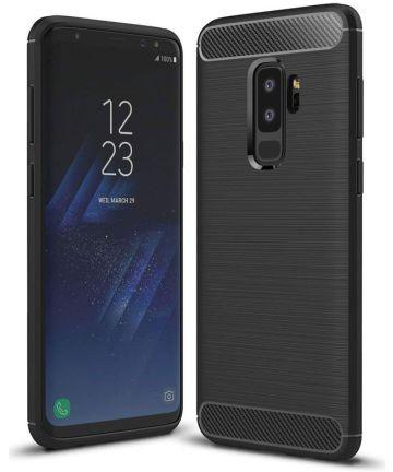 Samsung Galaxy S9 Plus Geborsteld TPU Hoesje Zwart Hoesjes