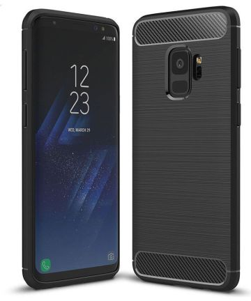 Samsung Galaxy S9 Geborsteld TPU Hoesje Zwart Hoesjes