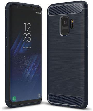 Samsung Galaxy S9 Geborsteld TPU Hoesje Blauw