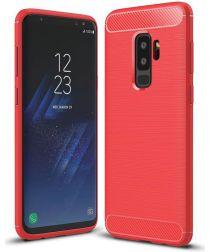 Samsung Galaxy S9 Geborsteld TPU Hoesje Rood