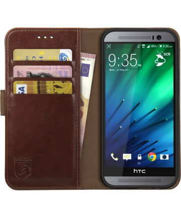 Rosso Element HTC One M8 Hoesje Book Cover Bruin Hoesjes