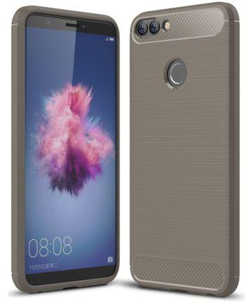 Huawei P Smart Geborsteld TPU Hoesje Grijs