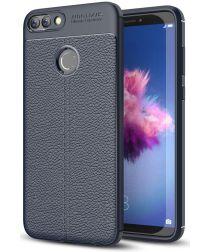 Huawei P Smart Litchi Kunstleren Coating TPU Hoesje Blauw