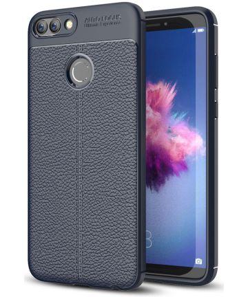 Huawei P Smart Litchi Kunstleren Coating TPU Hoesje Blauw Hoesjes
