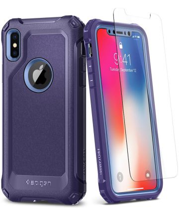 Spigen Pro Guard Hoesje Apple iPhone X Deep Purple