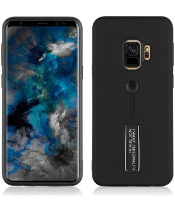 Samsung Galaxy S9 TPU Hoesje met Standaard Zwart Hoesjes