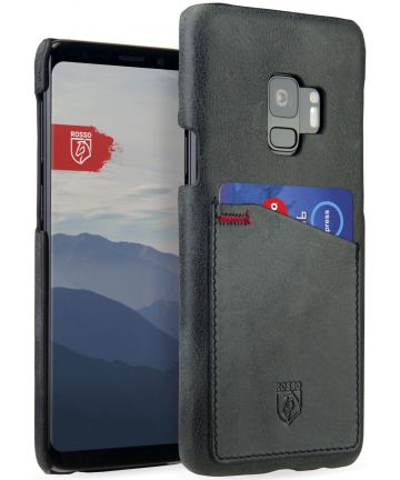 Rosso Select Samsung Galaxy S9 Hoesje Echt Leer Back Cover Zwart Hoesjes
