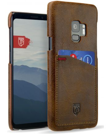 Rosso Select Samsung Galaxy S9 Hoesje Echt Leer Back Cover Bruin