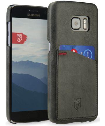 Rosso Select Samsung Galaxy S7 Hoesje Echt Leer Back Cover Zwart