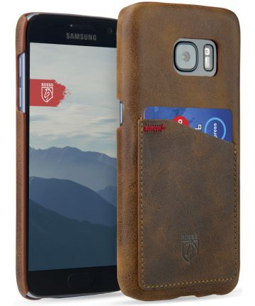 Rosso Select Samsung Galaxy S7 Hoesje Echt Leer Back Cover Bruin Hoesjes