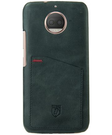 Rosso Select Motorola Moto G5S Hoesje Echt Leer Back Cover Zwart