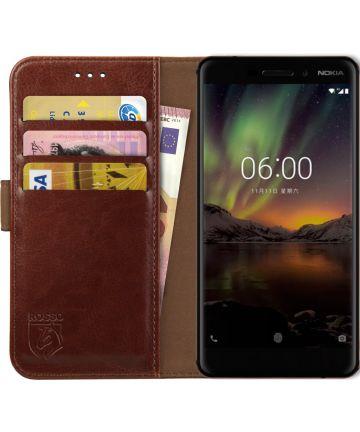 Rosso Element Nokia 6 (2018) Hoesje Book Cover Bruin