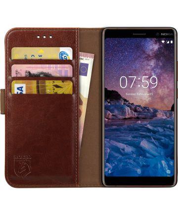 Rosso Element Nokia 7 Plus Hoesje Book Cover Bruin Hoesjes