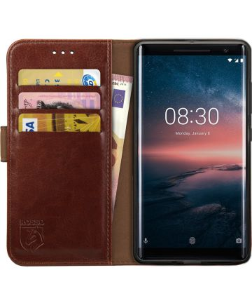 Rosso Element Nokia 8 Sirocco Hoesje Book Cover Bruin Hoesjes