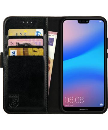 Rosso Element Huawei P20 Lite Hoesje Book Cover Zwart