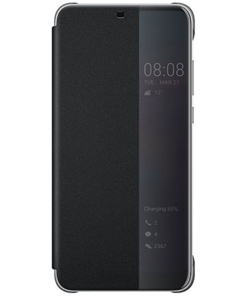 Huawei P20 Lite Originele Flip Cover Zwart Hoesjes