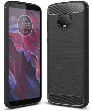 Motorola Moto G6 Geborsteld Hoesje Zwart Hoesjes