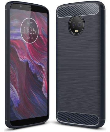 Motorola Moto G6 Geborsteld Hoesje Donker Blauw