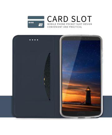 Motorola Moto G6 Plus Flip Hoesje met Kaart Houder Blauw