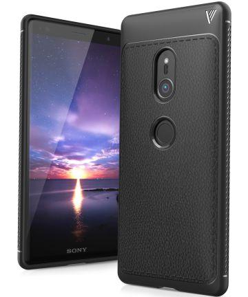 Sony Xperia XZ2 Hoesje TPU Met Leren Textuur Zwart Hoesjes