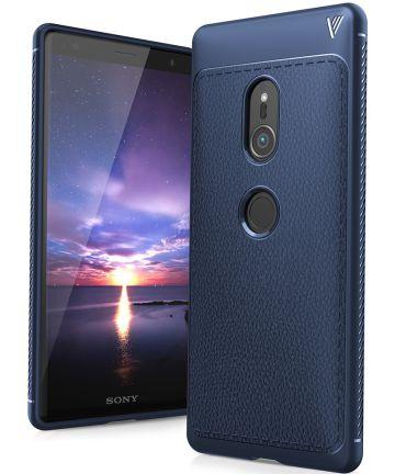 Sony Xperia XZ2 Hoesje TPU Met Leren Textuur Donker Blauw
