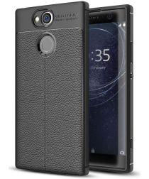 Sony Xperia XA2 Hoesje met Kunstleer Coating Zwart
