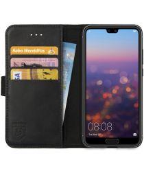 Rosso Deluxe Huawei P20 Hoesje Echt Leer Book Case Zwart