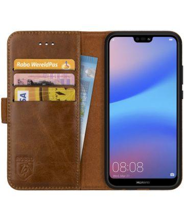 Rosso Deluxe Huawei P20 Lite Hoesje Echt Leer Book Case Bruin