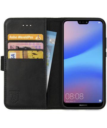 Rosso Deluxe Huawei P20 Lite Hoesje Echt Leer Book Case Zwart Hoesjes