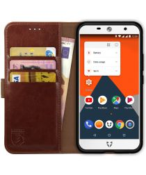 Rosso Element Wileyfox Swift 2 (Plus) Hoesje Book Cover Bruin