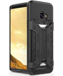 Hybride Samsung Galaxy S9 Hoesje met Kaarthouder Zwart